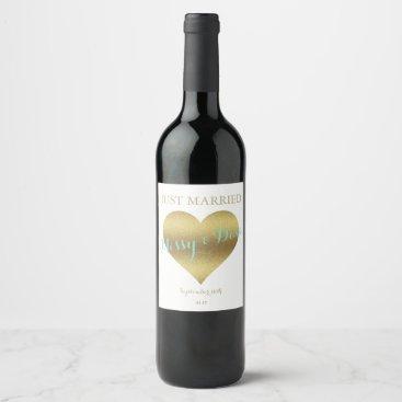 McTiffany Tiffany Aqua BRIDE & CO Gold Heart Tiffany Party Wine Labels