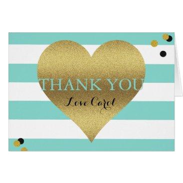McTiffany Tiffany Aqua BRIDE & CO Gold Heart Tiffany Teal Blue Note Card