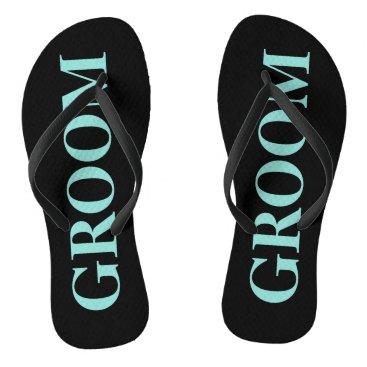 McTiffany Tiffany Aqua BRIDE & CO Groom Teal Blue Wedding Flip Flops