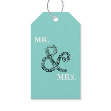 McTiffany Tiffany Aqua BRIDE & CO Mr And Mrs Party Gift Tags