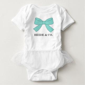BRIDE & CO Shower Teal Blue Bow Baby Tutu Bodysuit