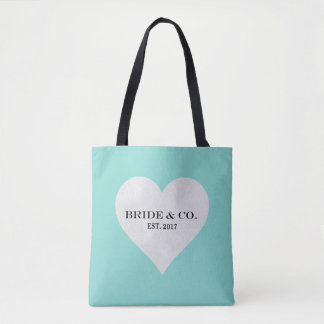 BRIDE & CO. Teal Blue Party Heart Tote Bag