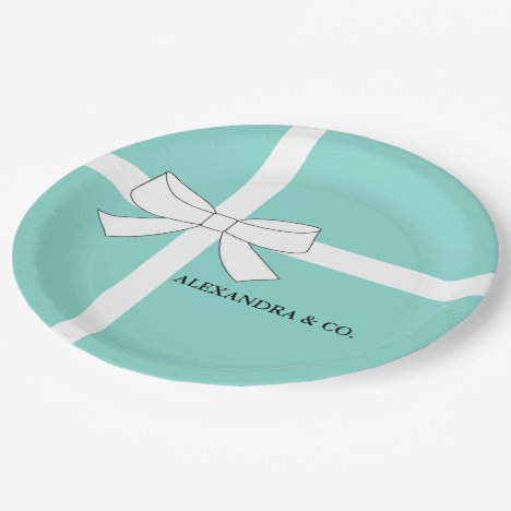 BRIDE & CO Teal Blue Personalized Shower Party Paper Plate
