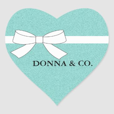 Valentines Themed BRIDE & CO. Teal Blue Shimmer Heart Stickers