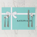 """BRIDE &amp; CO Teal Blue Shower Party Tear Away Paper Placemat<br><div class=""""desc"""">Darling have fun at your next party with these paper placemats,  makes clean up super fast just throw away when done. Personalize as you choose,  perfect for any theme party.  Look for other fun ideas all part of the BRIDE &amp; CO. collection.</div>"""