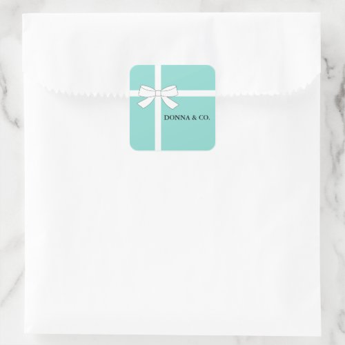 BRIDE  CO Teal Blue Shower Personalized Party Square Sticker