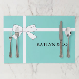 BRIDE & CO Teal Blue White Bow Tear Away Placemat