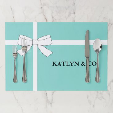 McTiffany Tiffany Aqua BRIDE & CO Teal Blue White Bow Tear Away Placemat
