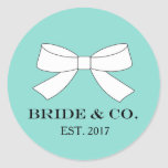 Hand shaped BRIDE & CO. TIffany Blue Party Stickers