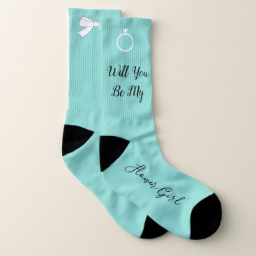 Beach Themed BRIDE & CO Will You Be My Flower Girl Party Socks