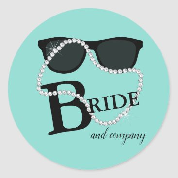 Wedding Themed Bride & Company Diamond Tiara Party Stickers