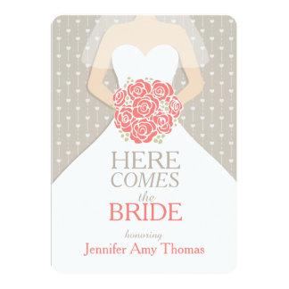 Bride coral bouquet graphic bridal shower invite
