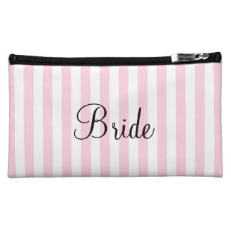 Bride Cosmetic Bag Personalized Pink And White