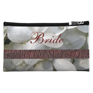 Bride Cosmetic Bag with White Flower Blossoms