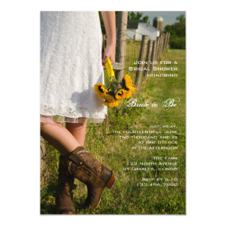 Bride, Cowboy Boots and Sunflowers Bridal Shower Card