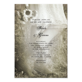 Bride, Cowboy Boots and Sunflowers Country Wedding Card
