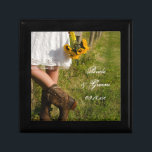 """Bride, Cowboy Boots and Sunflowers Ranch Wedding Jewelry Box<br><div class=""""desc"""">Customize the pretty Bride, Cowboy Boots and Sunflowers Ranch Wedding Gift Box with the personal names of the newlyweds and marriage ceremony date to create a keepsake gift for the bride or her bridesmaids and bridal party. This beautiful custom country chic nuptial trinket box features a quaint farm photograph of...</div>"""