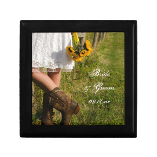 Bride, Cowboy Boots and Sunflowers Ranch Wedding Jewelry Box