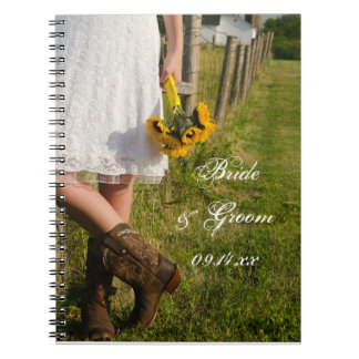 Bride, Cowboy Boots and Sunflowers Ranch Wedding Spiral Notebook