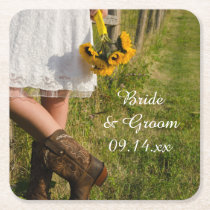 Bride, Cowboy Boots and Sunflowers Ranch Wedding Square Paper Coaster