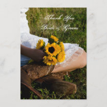Bride Cowboy Boots Sunflowers Flat Thank You Notes