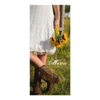 Bride, Cowboy Boots, Sunflowers Ranch Wedding Menu