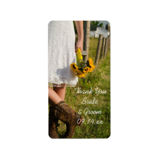Bride, Cowboy Boots, Sunflowers Wedding Thank You Label