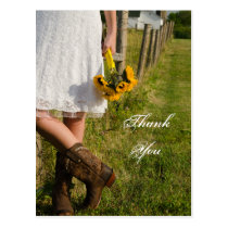 Bride, Cowboy Boots, Sunflowers Wedding Thank You Postcard