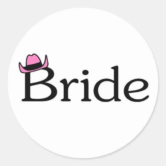 Bride (Cowboy Hat) Classic Round Sticker