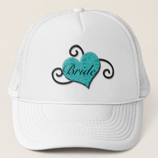 """Bride"" - Crackled Turquoise/Aqua Heart Trucker Hat"