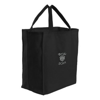 Bride Current Year  20XX  and Monogram Embroidered Tote Bag