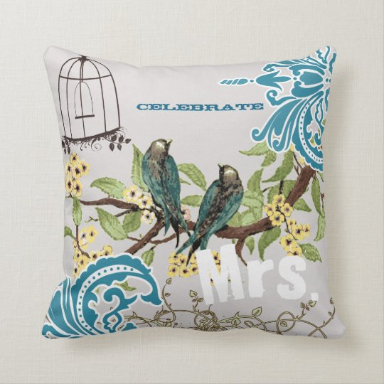 Bride Damask Love Bird Cherry Blossom Birdcage Throw Pillow