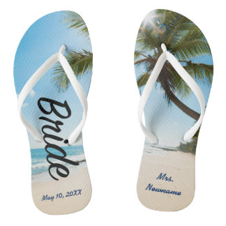 Bride Destination Wedding Beach Scene Flip Flops