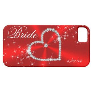 BRIDE - DIAMOND HEART ON RED SATIN iPhone 5 CASE