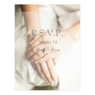 Bride Diamond Ring Wedding RSVP Postcard