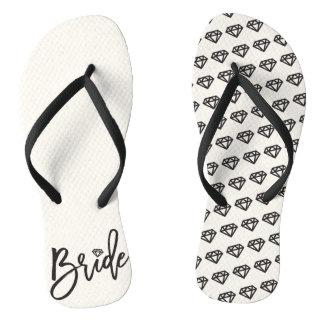 Bride Diamonds Bridal Party Wedding Flip Flops