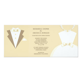 Bride Dress and Groom Tuxedo Wedding Invitation