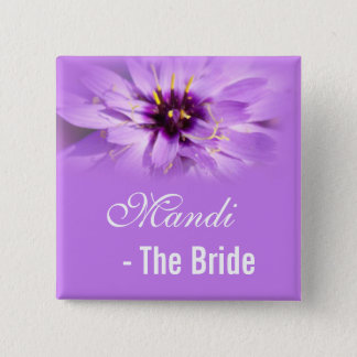bride, elegant purple daisy flower wedding name pinback button