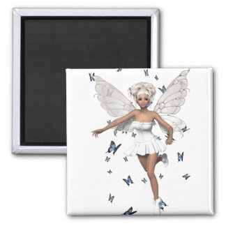 Bride Fairy White Minidress Blue Butterflies 2 Inch Square Magnet