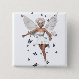 Bride Fairy White Minidress Blue Butterflies Button
