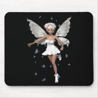 Bride Fairy White Minidress Blue Butterflies Mouse Pads