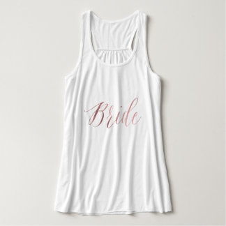 Bride/Faux Rose Gold/Modern Brush Script Tank Top