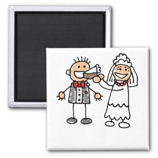 Bride Feeds Groom 2 Inch Square Magnet
