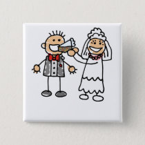 Bride Feeds Groom Pinback Button