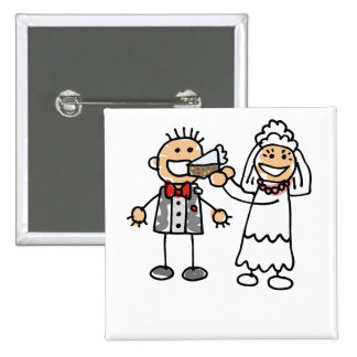 Bride Feeds Groom Pinback Button