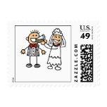 Bride Feeds Groom Wedding Cake Postage Stamp
