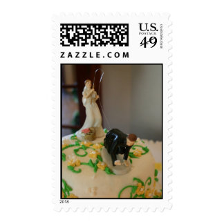 Bride fishing for groom wedding postage stamps