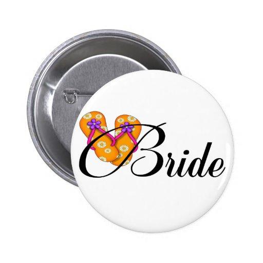 Bride Flip Flop Orange Pinback Button