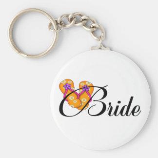 Bride Flip Flop Orange Basic Round Button Keychain