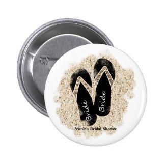 Bride Flip Flop Sandals Summer Beach Bridal Shower Button